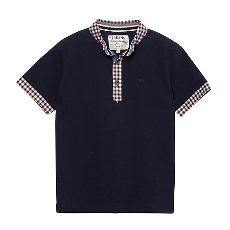 J by Jasper Conran - Designer boy+s navy gingham polo shirt