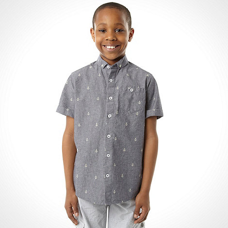 J by Jasper Conran - Designer boy+s blue chambray anchor shirt