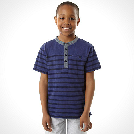J by Jasper Conran - Designer boy+s dark blue striped t-shirt