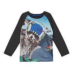 bluezoo - Boys' blue skating racoon print top