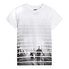 bluezoo - Boys' white striped printed t-shirt