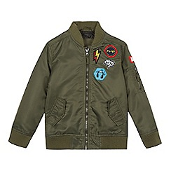 bluezoo - Boys' khaki badge applique bomber jacket