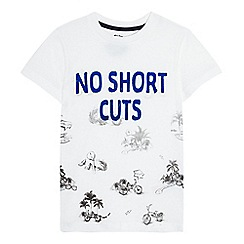 bluezoo - Boys' white 'No Short Cuts' print t-shirt