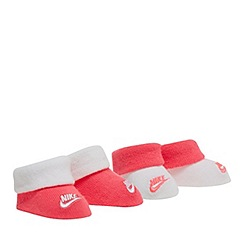 Nike - Pack of two baby girls' pink and white booties set