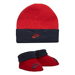 Nike - Girls' red and navy hat and bootie set