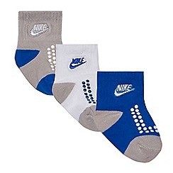 Nike - Baby boys' blue pack of three gripper socks