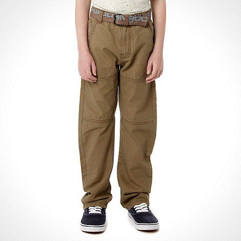 RJR.John Rocha - Boy+s tan drop crotch belted chinos