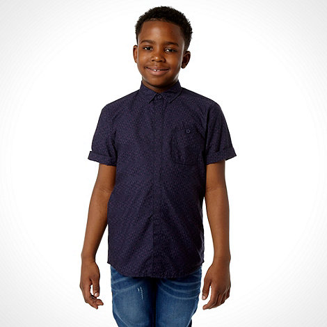 RJR.John Rocha - Designer boy+s navy aztec patterned shirt
