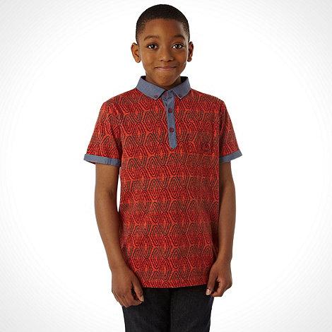 RJR.John Rocha - Designer boy+s red tribal striped polo top