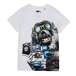 bluezoo - Boys' white monkey print t-shirt