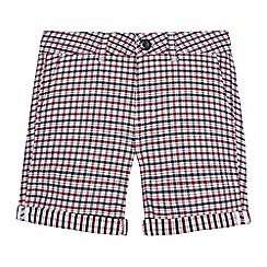 Ben Sherman - Boys' navy checked twill shorts