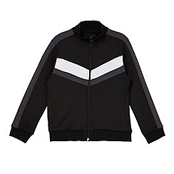 bluezoo - Boys' black zip through trico sweater