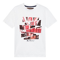 Ben Sherman - Boys' white Union Jack guitar print t-shirt