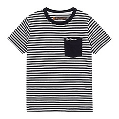 Ben Sherman - Boys' navy and white striped pocket t-shirt