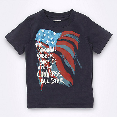 Converse - Boy+s navy flag printed t-shirt