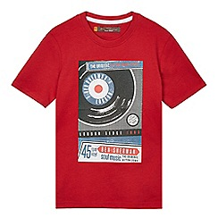 Ben Sherman - Boys' red record graphic print t-shirt