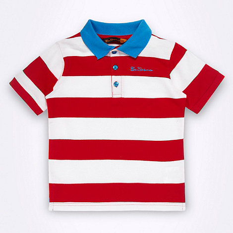 Ben Sherman - Boy+s red rugby striped pique polo shirt