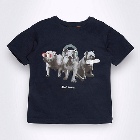 Ben Sherman - Boy+s navy bulldog motif printed t-shirt