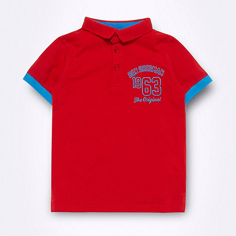 Ben Sherman - Boy+s red +1963+ logo polo shirt