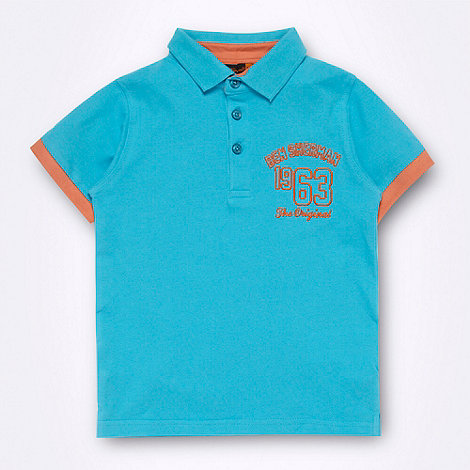 Ben Sherman - Boy+s bright turquoise +1963+ logo polo shirt