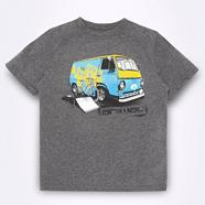 Boy's grey camper van print t-shirt