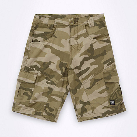 Animal - Boy+s green camouflage cargo shorts