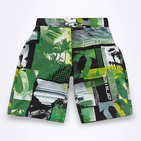Animal - Boy+s green photographic logo board shorts