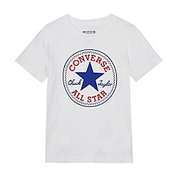 Converse - Girls' white logo print t-shirt