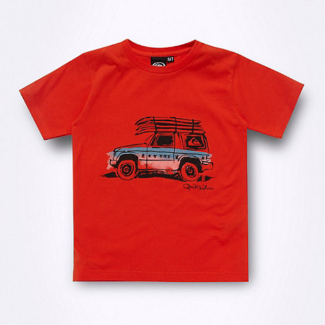 Quiksilver - Boy+s dark orange car printed t-shirt