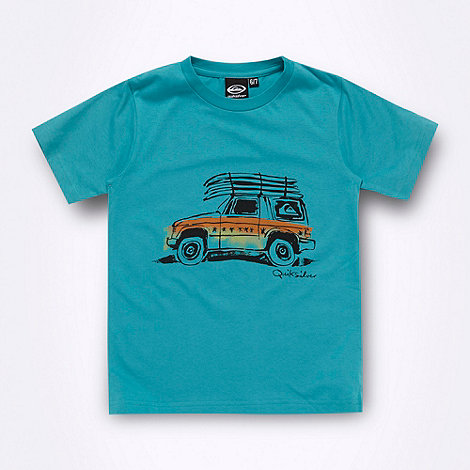 Quiksilver - Boy+s turquoise car printed t-shirt