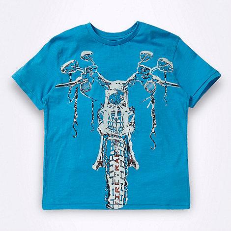 Firetrap - Boy+s blue bike logo t-shirt