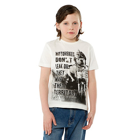 Firetrap - Boy+s white motorbike dog printed tee