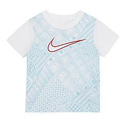 Nike - Boys' white and blue patterned logo t-shirt