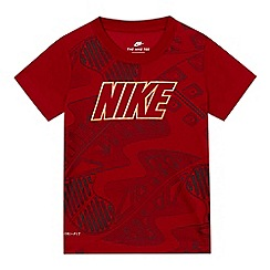 Nike - Boys' dark red patterned logo print t-shirt