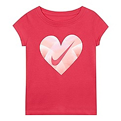 Nike - Girls' pink heart logo print t-shirt