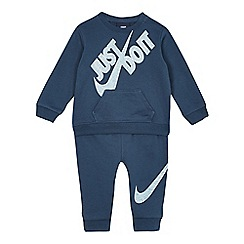 Nike - Baby boys' blue logo print jumper and jogging bottoms set