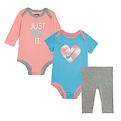 Nike - Baby girls' multi-coloured logo print bodysuit and leggings set