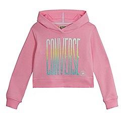 Converse - Girls' pink logo print cropped hoodie