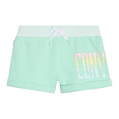 Converse - Girls' light green glitter logo print shorts