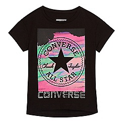 Converse - Girls' black logo print t-shirt