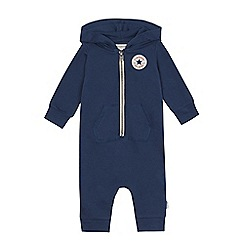 Converse - Baby boys' navy hooded romper suit
