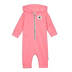Converse - Baby girls' pink hooded romper suit