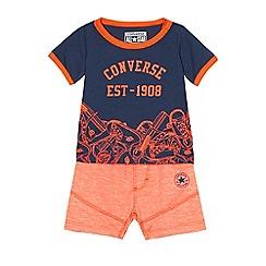 Converse - Baby boys' navy t-shirt and orange shorts set