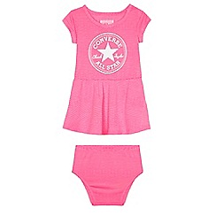 Converse - Baby girls' pink logo print dress and nappy cover set