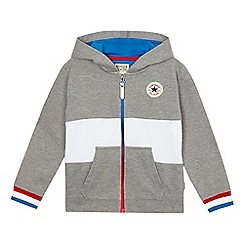 Converse - Boys' grey zip through hoodie