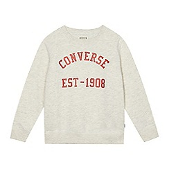 Converse - Boys' light grey logo print jumper