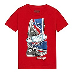 Converse - Boys' red trainer print t-shirt