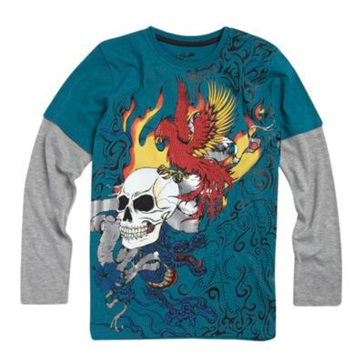 Turquoise long sleeve tattoo skull t-shirt