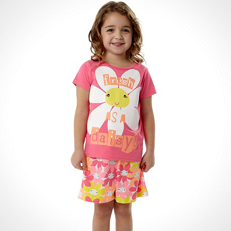 bluezoo - Girl+s pink +Fresh as a Daisy+ printed shortie pyjamas