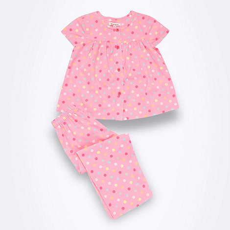 bluezoo - Girl+s pink spotted woven pyjamas